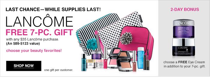 Lancome 14 pcs gift with $75 purchase @ Macy's 1 day sale ...