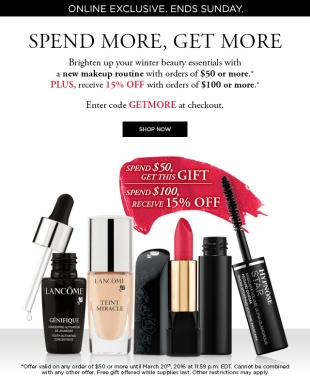 lancome ca 03 2016 spend more get more gift