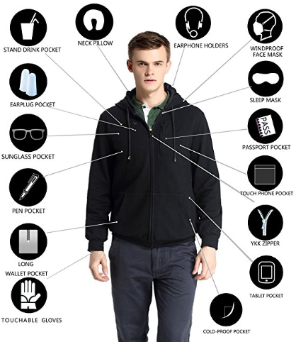 XY37 Men Travel Jacket Hoodie 10 Pockets Travel Pillow Eye Mask Face Mask Gloves at Amazon Men's Clothing store .png