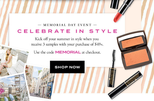 lancome Celebrate Memorial Day in Style Receive a 3 Step Summer Look may 2017 see more at icangwp blog