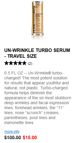 Peter Thomas Roth Clinical Skin Care Travel Sizes un wrinkle turbo