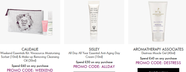 Space NK uk coupon Offers and Gifts with Purchase