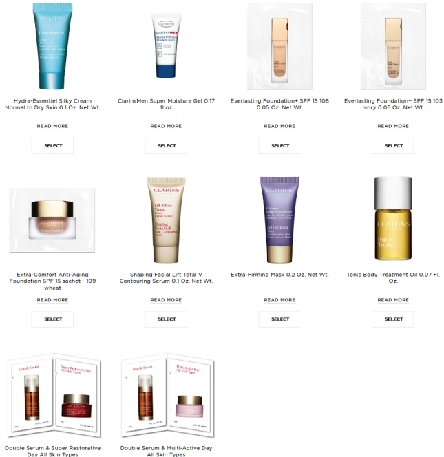 clarins 10pc gift with any
