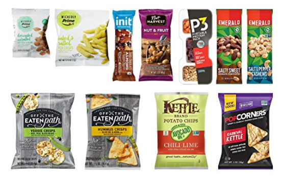 Amazon.com   Snack Sample Box  get a  9.99 credit toward future purchase of select snack products    Grocery   Gourmet Food.png