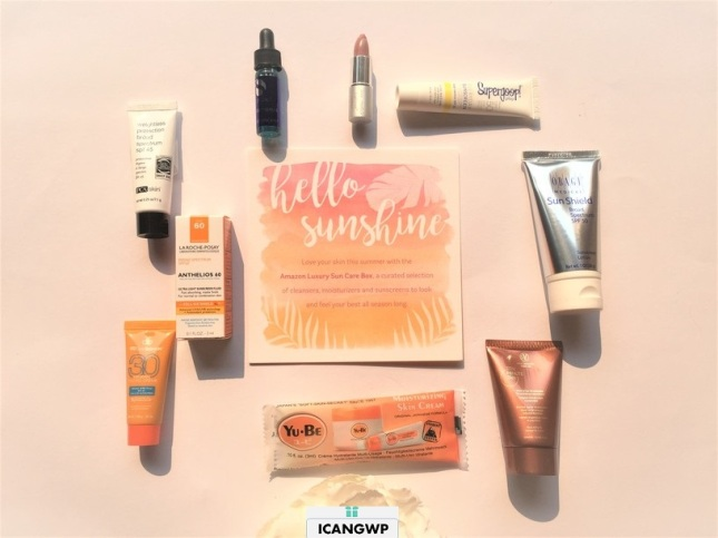 amazon suncare sample box unboxed by icangwp beauty blog - your limited edition beauty box destination haul