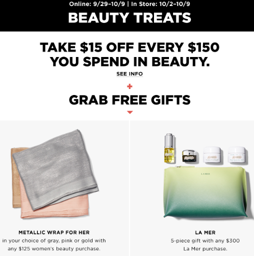 Bloomingdales beauty treats event sep 2017