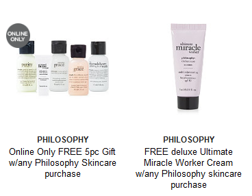 Gifts with Purchase Ulta Beauty philosophy sep 2017