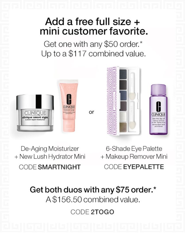 clinique free full size and a mini with 50 oct 2017