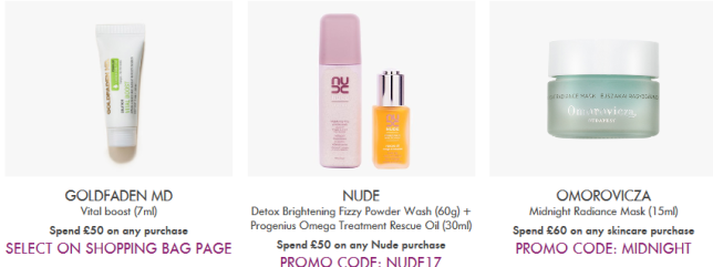 Space NK uk coupon nov 2017 Offers and Gifts with Purchase