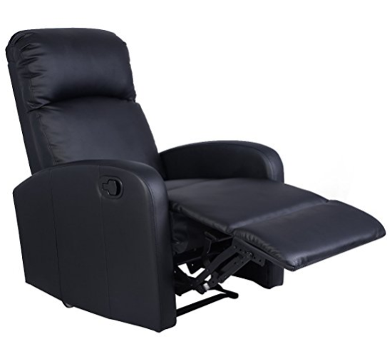 Amazon.com Giantex Manual Recliner Chair Black Lounger Leather Sofa Seat Home Theater Kitchen Dining