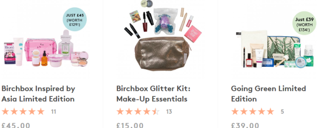 birchbox uk Limited Edition Boxes