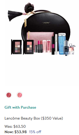 Lancome beauty box Makeup Skincare Fragrance Gift with Purchase Nordstrom