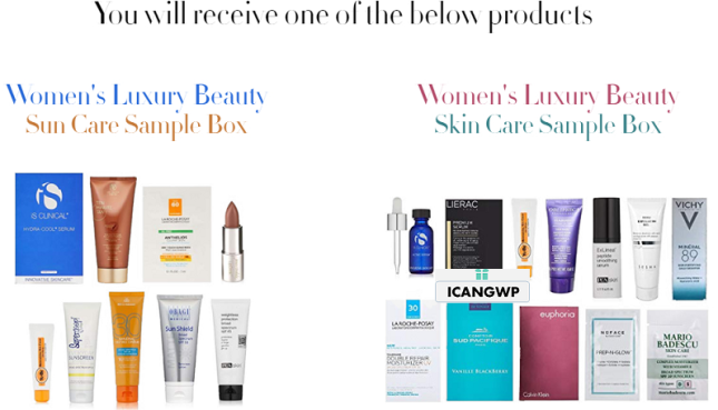 Amazon prime day free Luxury Beauty Sample Box icangwp blog.png
