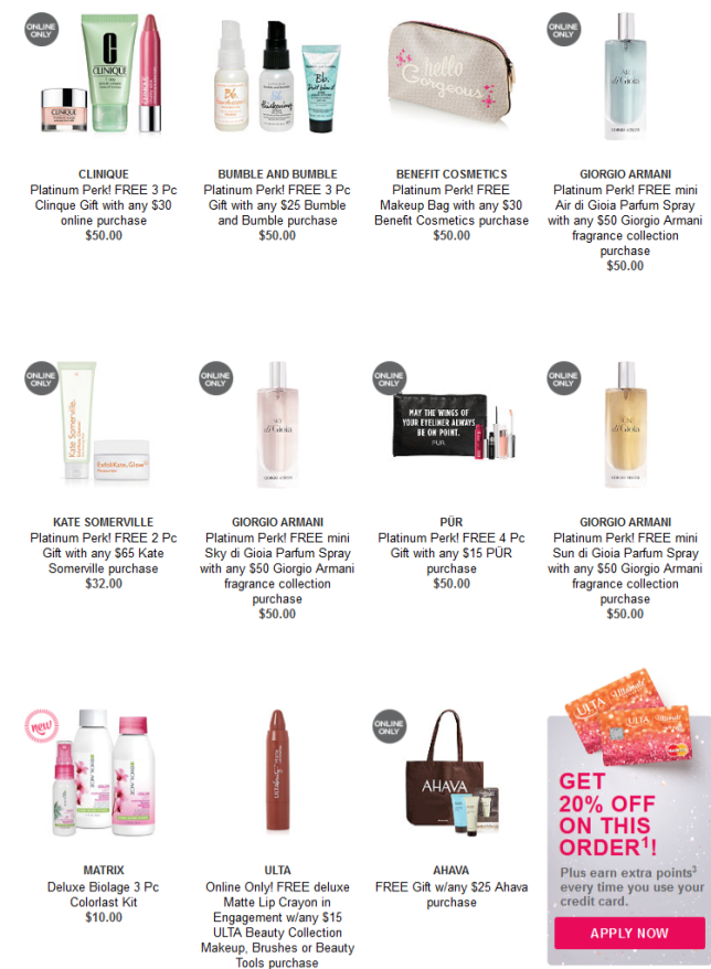 Gifts with Purchase Ulta Beauty platinum perks icangwp blog