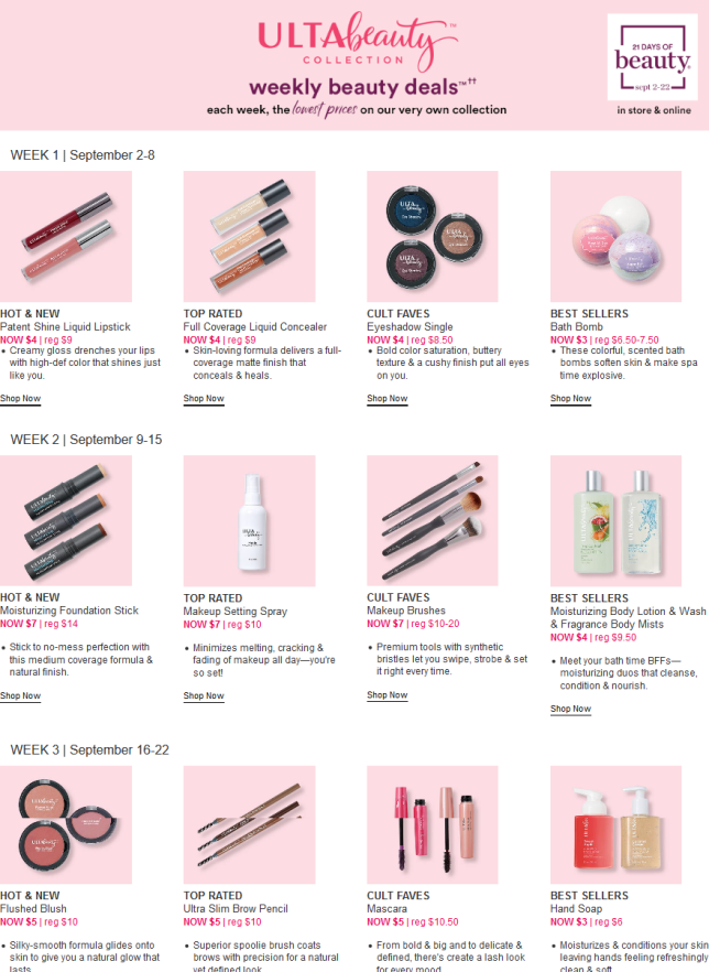21 Days Of Beauty Ulta Beauty 2018 full spoilers icangwp blog (4)