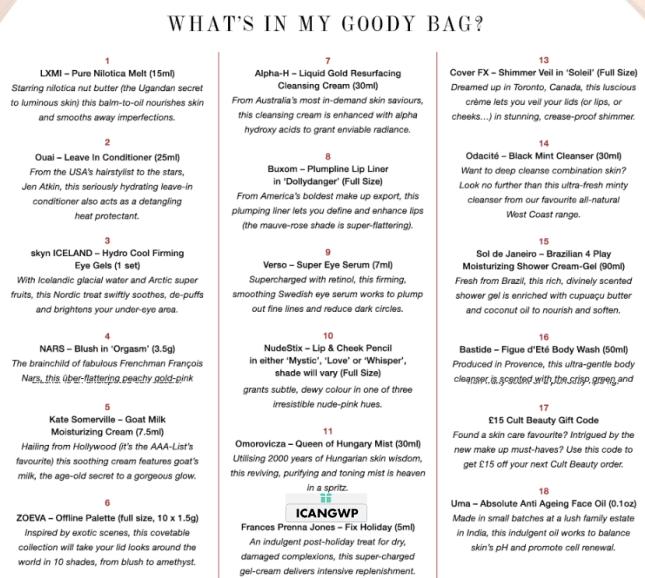cult beauty goody bag autmn 2018 icangwp blog