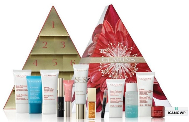 clarins-womens-12-days-of-christmas-calendar-2018 beauty advent calendar 2018 icangwp blog