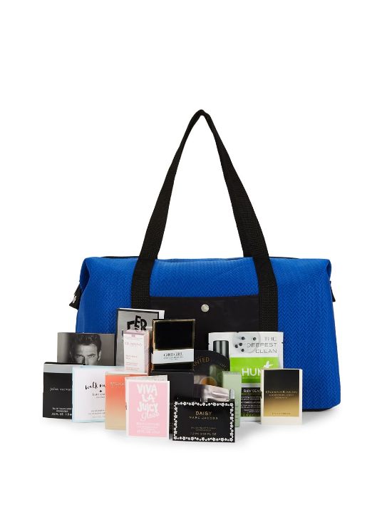 lord and taylor duffel bag filled with beauty samples icangpw blog