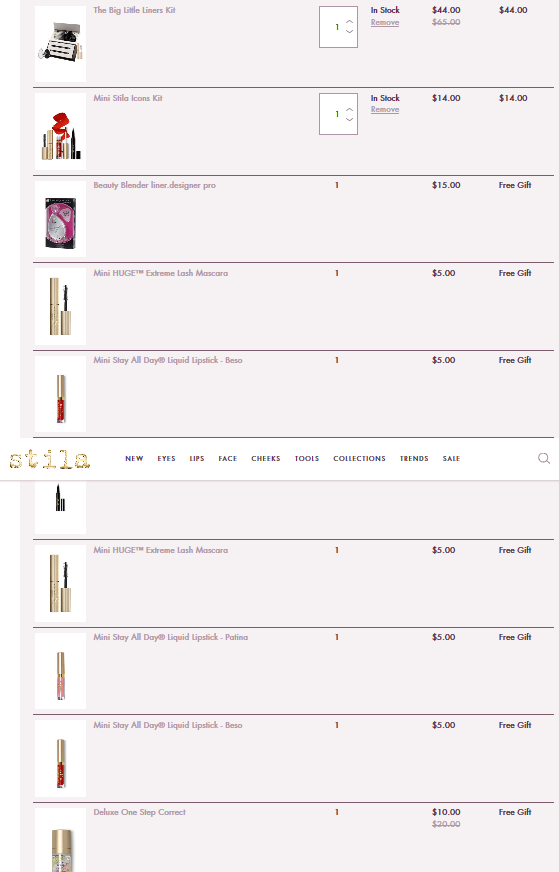 My Cart Stila Cosmetics