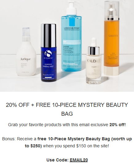 SkinStore Free 10 Piece Mystery Beauty Bag oct 2018