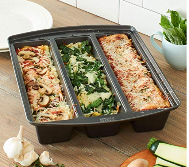 Amazon.com Chicago Metallic 26783 Professional Lasagna Trio Pan 16 Inch by 12.5 Inch Silver Kitchen Dining