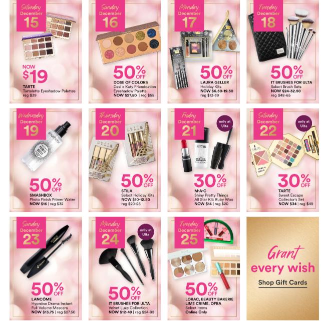 Beauty Blitz 50 off Select Brands ULTA BEAUTY spoilers icangwp blog dec 2018