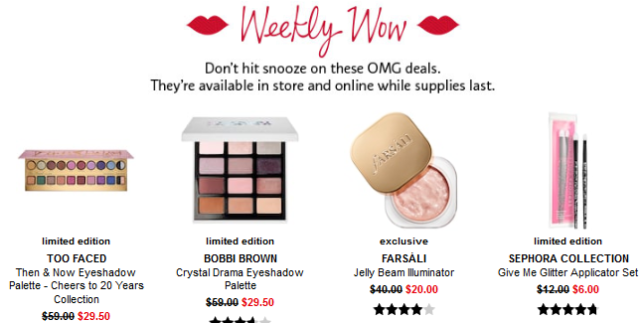 Sephora weekly wow dec 12 2018 Coupons Promo Codes Coupon Codes Sephora