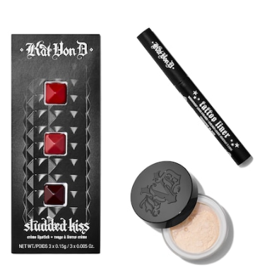 BIRTHDAY GIFT KVD BEAUTY TATTOO LINER SETTING POWDER AND LIPSTICK SET Kat Von D Sephora