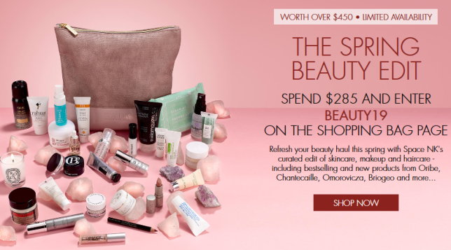 SpaceNK beauty edit gift bag coupon icangwp blog