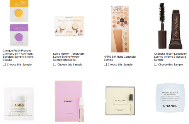 Free Makeup Samples with Purchase Nordstrom march 2019