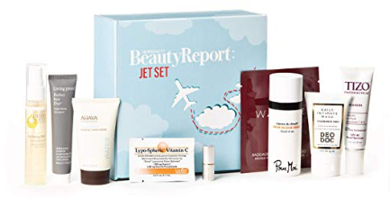 Amazon.com NewBeauty BeautyReport Sample Box Jet Set Edition Complete Beauty Travel Regimen Set ft. Witch Hazel Resveratrol Squalane Moisturizing Essential Oils Beauty