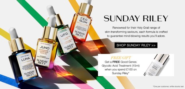 sunsundayriley gift with purchase cult beauty