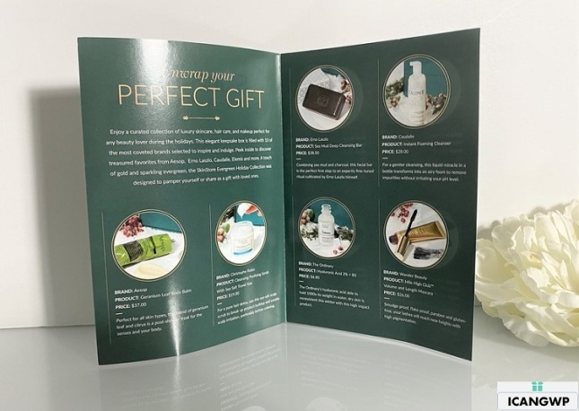 Skinstore holiday Evergreen collection by icangwp blog booklet