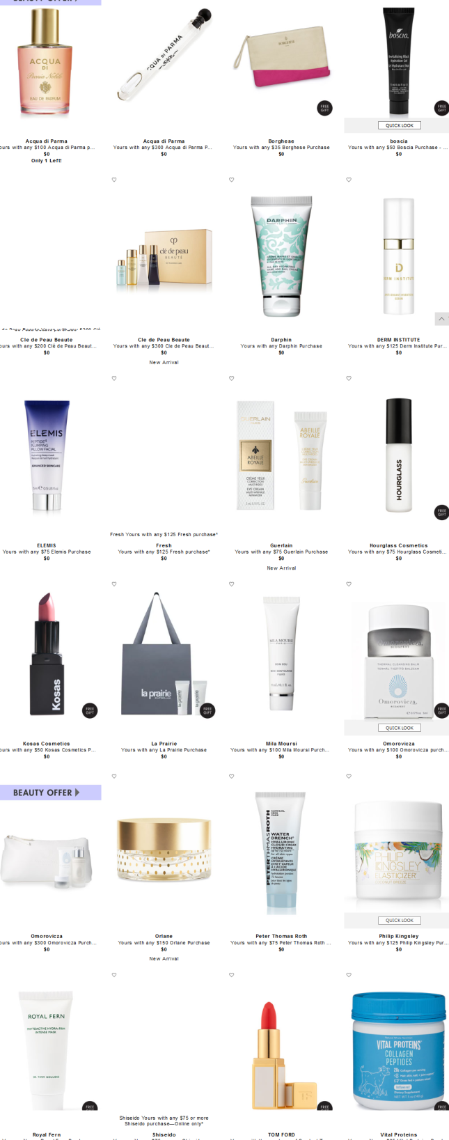 Beauty Gifts with Purchase at Neiman Marcus all