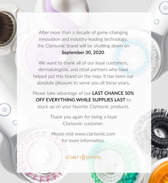 clarisonic shutting down