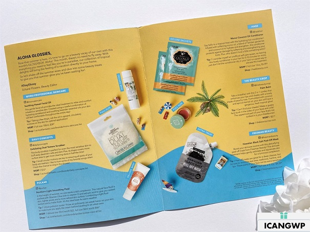 glossybox review by IcanGWP booklet