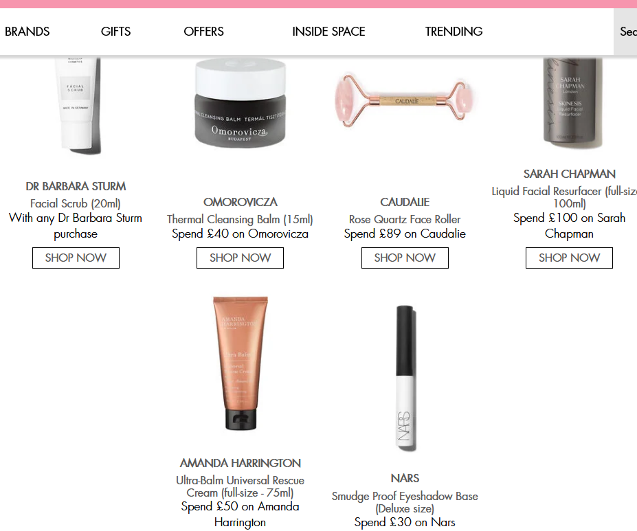 Gifts with Purchase Space NK uk sep 2020