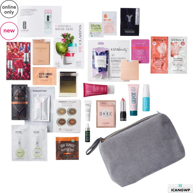 12-25 Variety Free 25 Piece Grey Beauty Bag with $70 purchase Ulta icangwp
