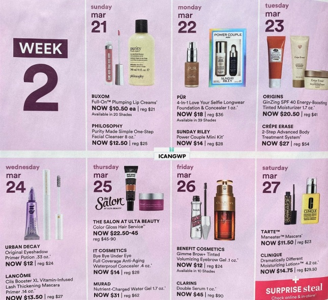 ulta 21 days of beauty event spring 2021 ad scan icangwp week 2