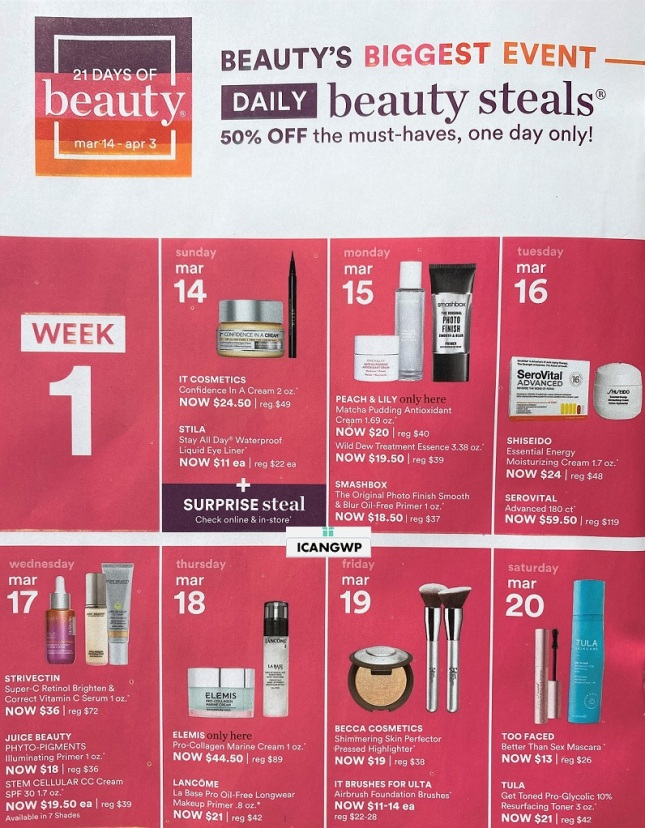 ulta 21 days of beauty event spring 2021 ad scan icangwp